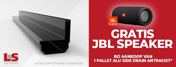 Gratis JBL speaker bij aankoop van 1 pallet Alu Side Drain Antraciet